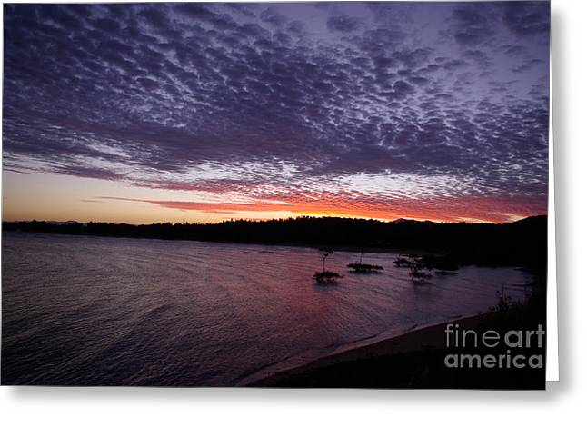 Greeting Card featuring the photograph Four Elements Sunset Sequence 7 Coconuts Qld  by Kerryn Madsen - Pietsch
