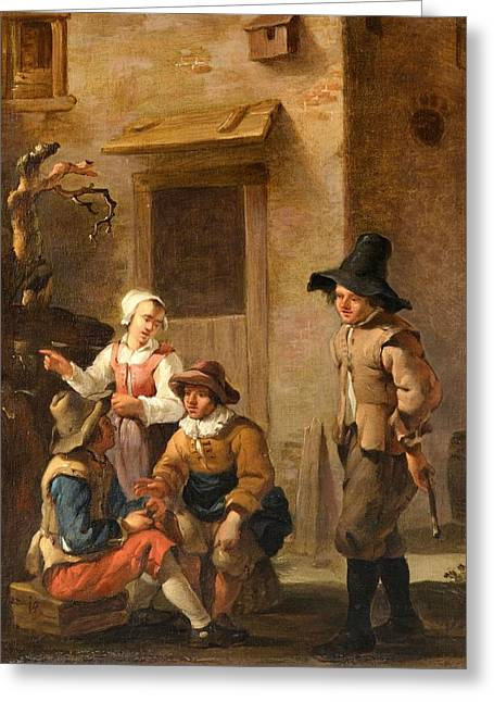 Four Figures Conversing In The Courtyard Of An Italian House Greeting Card