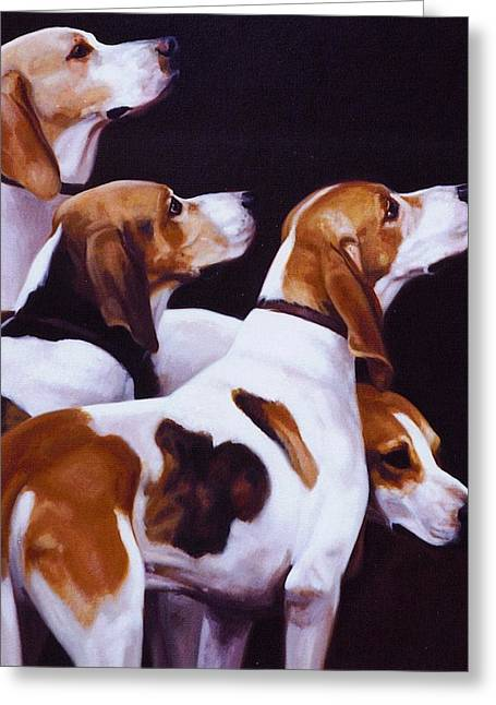 Four Fox Hounds Greeting Card