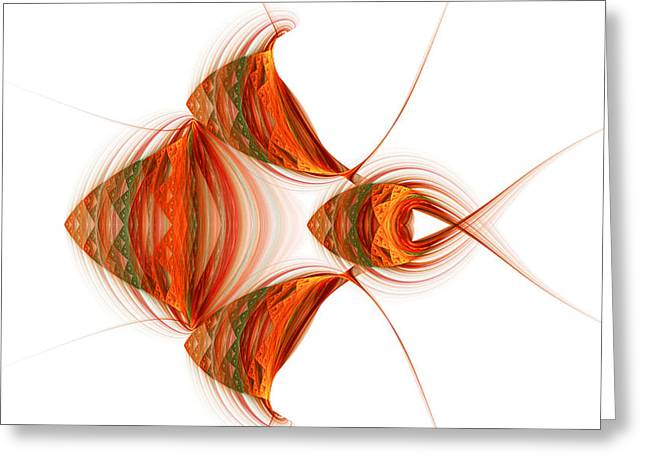 Greeting Card featuring the digital art Four Fractal Fishies by Richard Ortolano