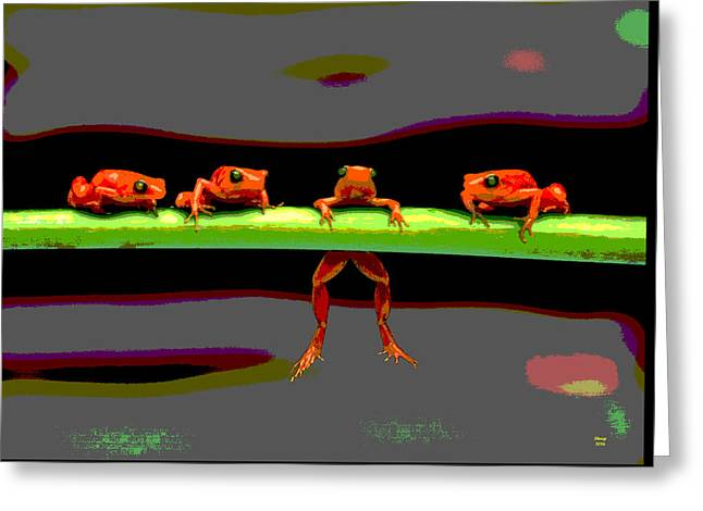 Four Frogs Greeting Card by Charles Shoup