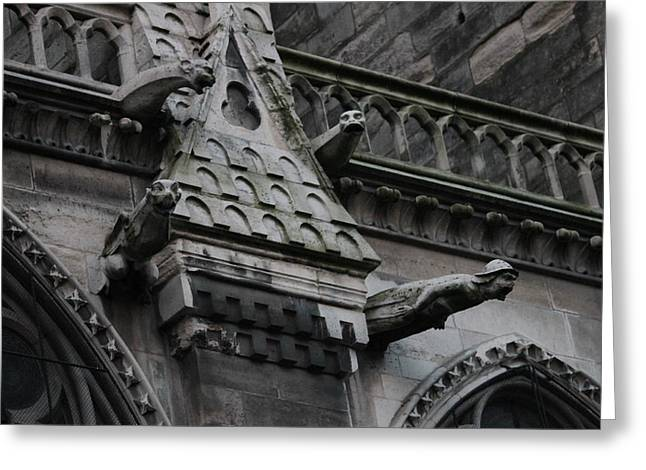 Greeting Card featuring the photograph Four Gargoyles On Notre Dame North by Christopher Kirby