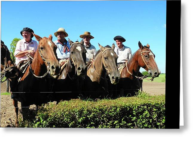 Four Gauchos In Argentina Greeting Card by Kirsten Giving