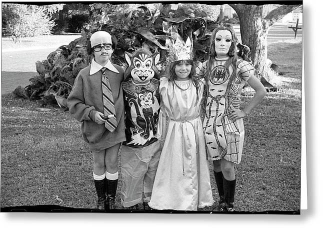Four Girls In Halloween Costumes, 1971, Part One Greeting Card