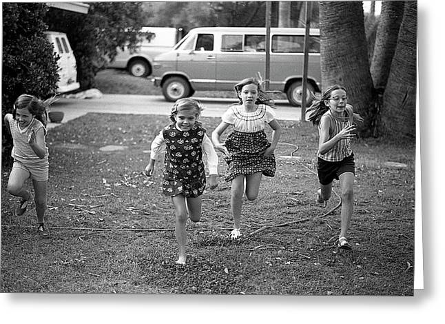 Four Girls Racing, 1972 Greeting Card