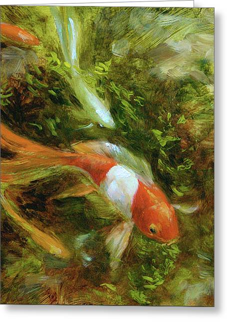 Four Goldfish Greeting Card by Tracie Thompson