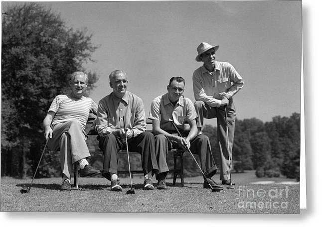 Four Golfers, C.1940-50s Greeting Card