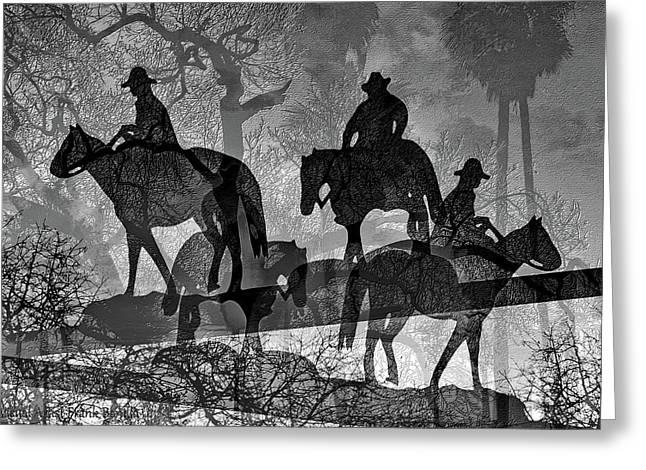 Four Horsemen Black And White Greeting Card by Visual Artist Frank Bonilla