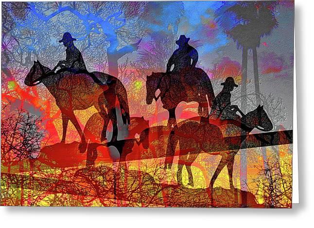 Four Horsemen Greeting Card by Visual Artist Frank Bonilla