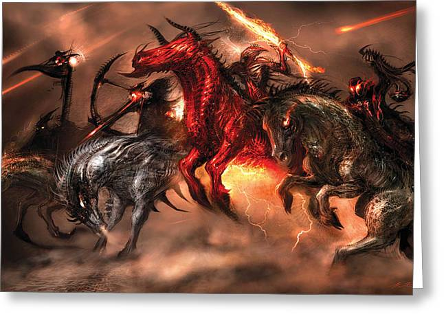 Horseman Greeting Cards - Four Horsemen Greeting Card by Alex Ruiz