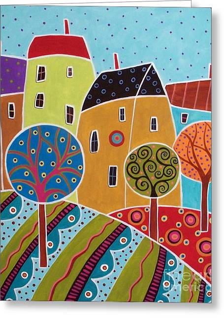 Four Houses Three Trees Landscape Greeting Card