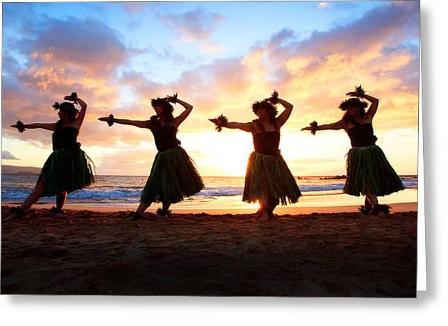 Full Skirt Greeting Cards - Four Hula Dancers At Sunset Greeting Card by David Olsen