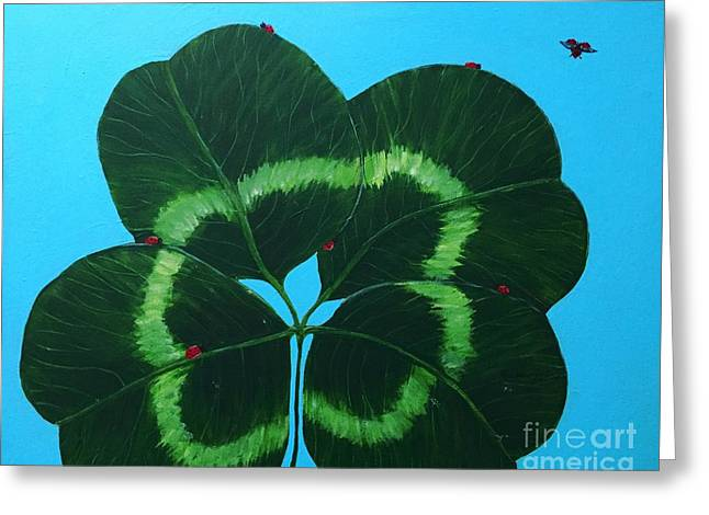 Four Leaf Clover And Seven Ladybugs Greeting Card