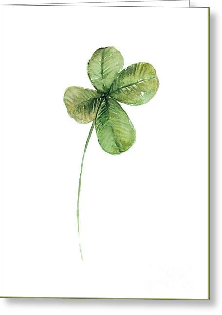 Four Leaf Clover Watercolor Poster Greeting Card by Joanna Szmerdt