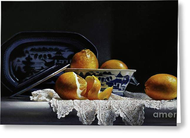 Four Lemons With Canton Greeting Card by Larry Preston