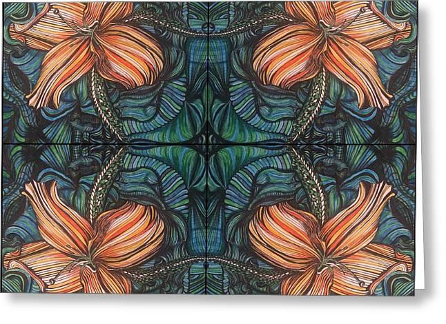 Four Lilies Leaf To Leaf Greeting Card