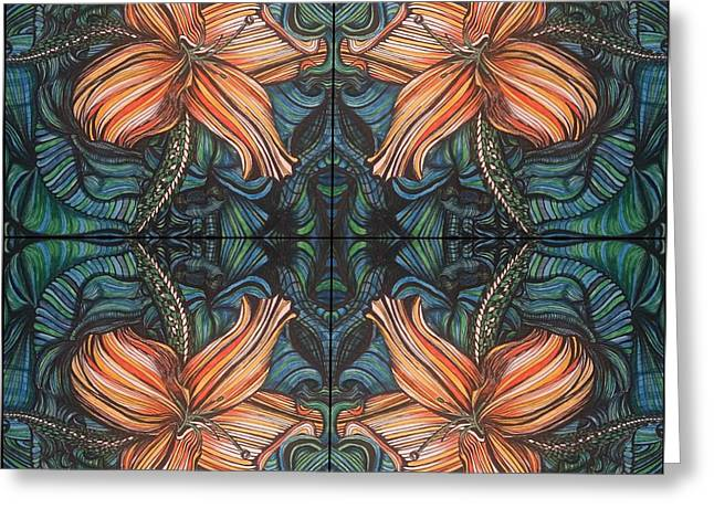 Four Lilies Looking In Greeting Card