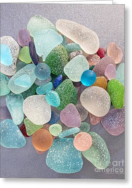 Four Marbles And A Rainbow Of Beach Glass Greeting Card