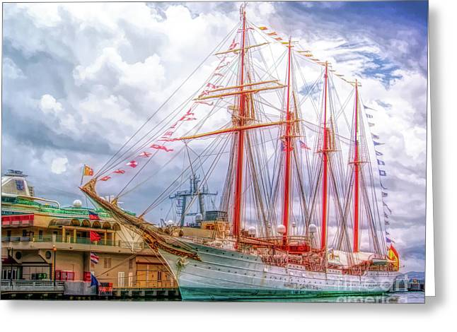Four Masted Schooner In Port Greeting Card
