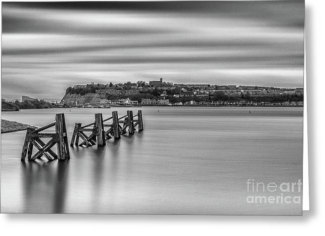 Four Minutes At Cardiff Bay Mono Greeting Card by Steve Purnell