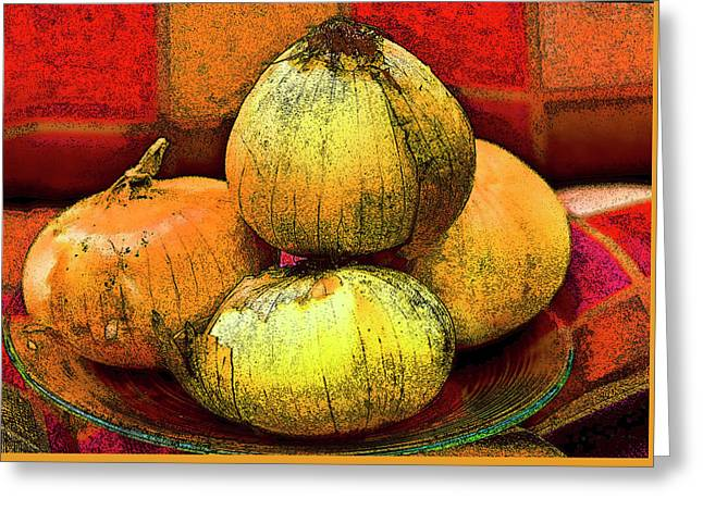 Four Onions  Greeting Card