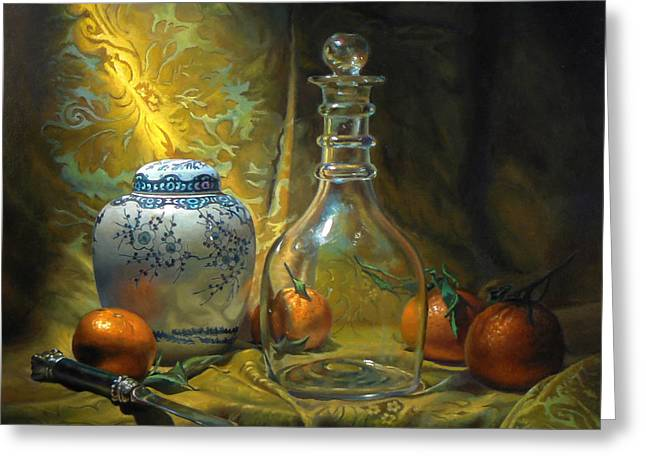 Four Oranges Greeting Card by Jeffrey Hayes