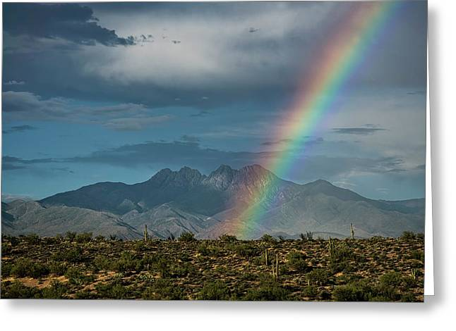Greeting Card featuring the photograph Four Peaks Rainbow  by Saija Lehtonen