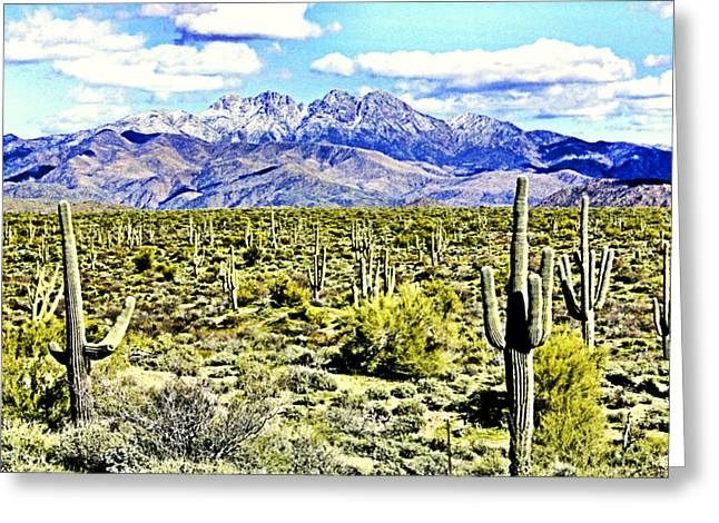Four Peaks Greeting Card by Sharon Broucek