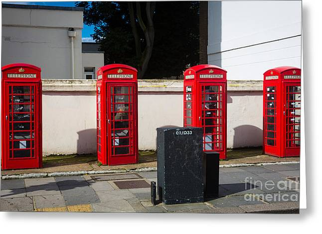 Four Phone Booths In London Greeting Card