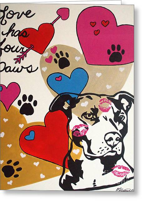 Four Pitty Paws Greeting Card