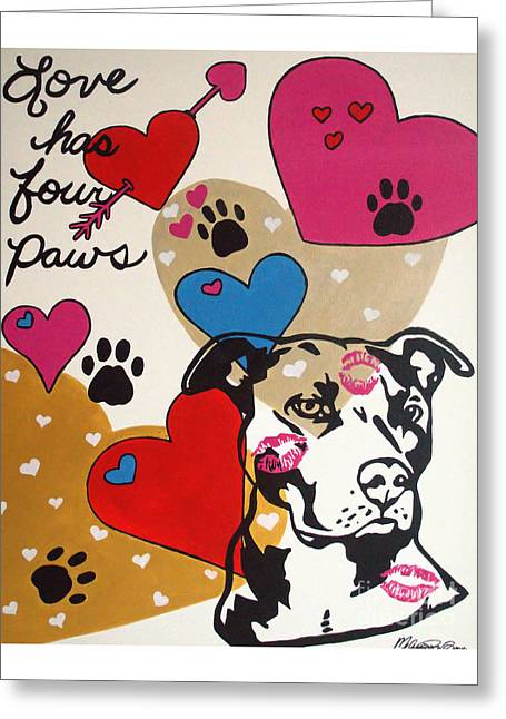 Greeting Card featuring the painting Four Pitty Paws by Melissa Goodrich