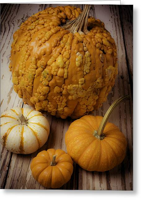 Four Pumpkins Greeting Card by Garry Gay