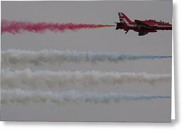 Greeting Card featuring the photograph Four Red Arrows Smoke Trail - Teesside Airshow 2016 by Scott Lyons