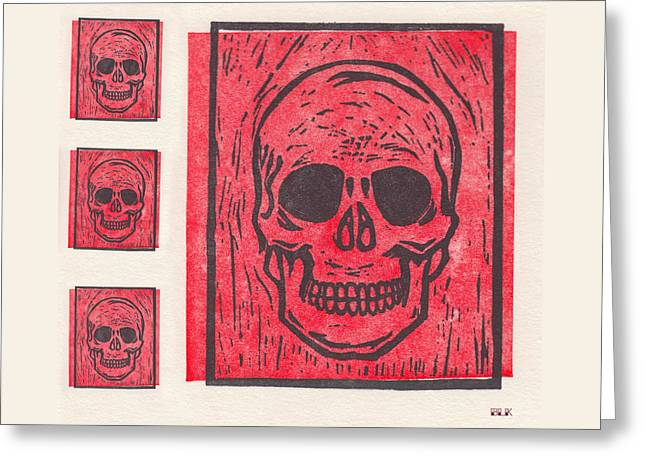 Four Red Skulls Offset Greeting Card by Little Bunny Sunshine