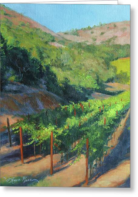 Grape Vines Paintings Greeting Cards - Four Rows Napa Valley Greeting Card by Anna Bain