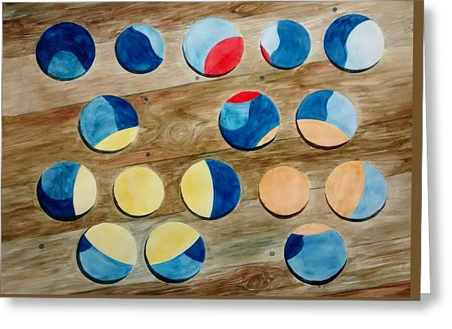 Four Rows Of Circles On Wood Greeting Card