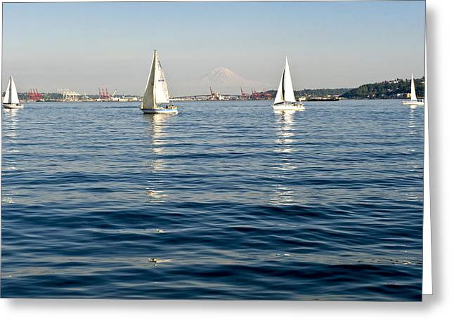 Four Sailboats Greeting Card by Tom Dowd