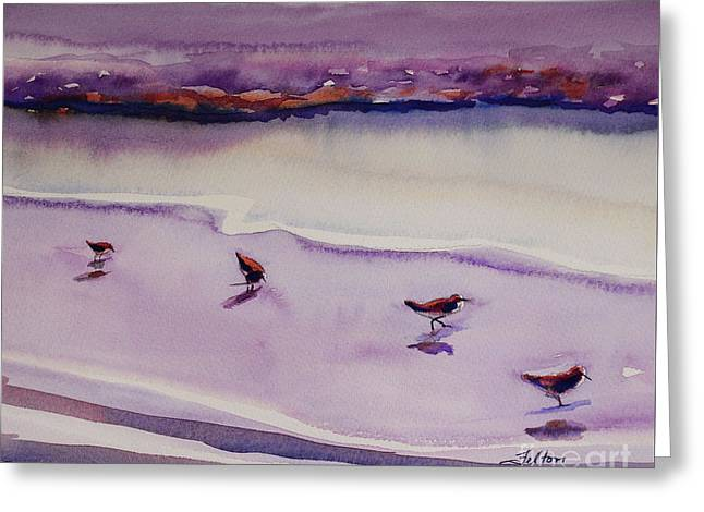 Four Sandpipers Greeting Card
