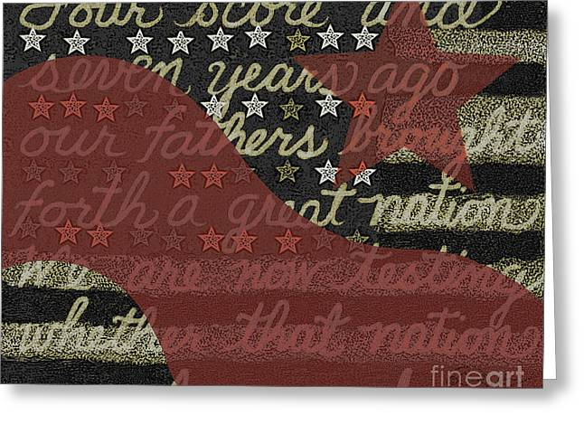 Four Score Star And Stripe Greeting Card by Carol Jacobs