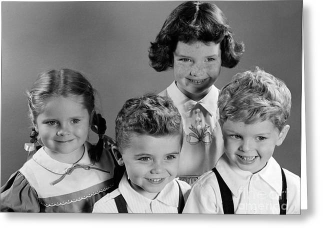 Four Smiling Children, C.1950s Greeting Card by H. Armstrong Roberts/ClassicStock
