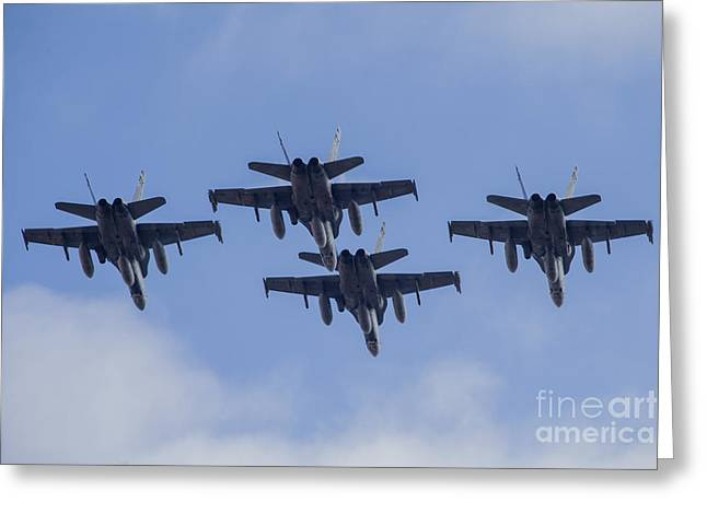 Four Spanish Air Force F-18m Hornets Greeting Card by Timm Ziegenthaler