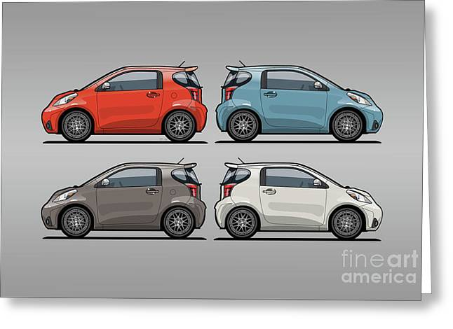 Four Toyota Scion Iq Micro Cars Greeting Card by Monkey Crisis On Mars