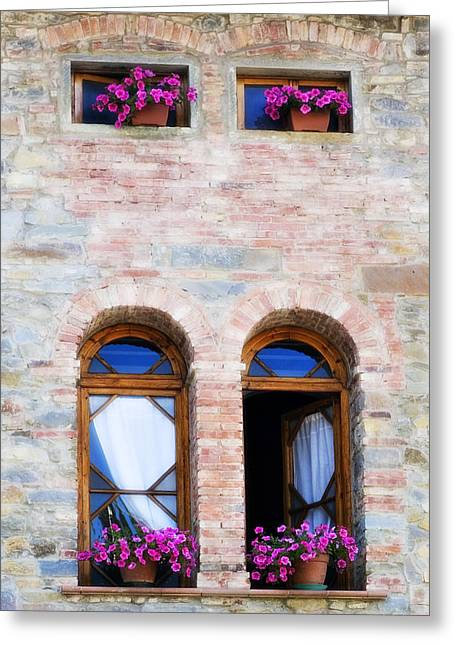 Four Windows Greeting Card by Marilyn Hunt