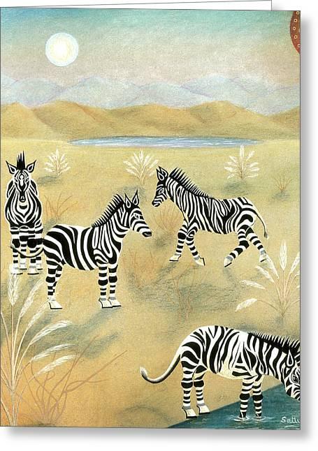 Four Zebras Greeting Card by Sally Appleby