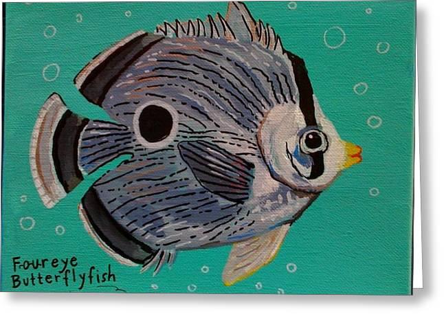 Foureye Butterflyfish Greeting Card by Emily Reynolds Thompson