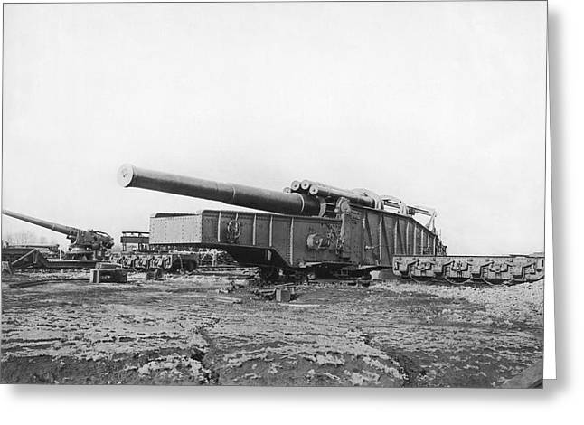 Fourteen Inch Gun Greeting Card by Underwood Archives
