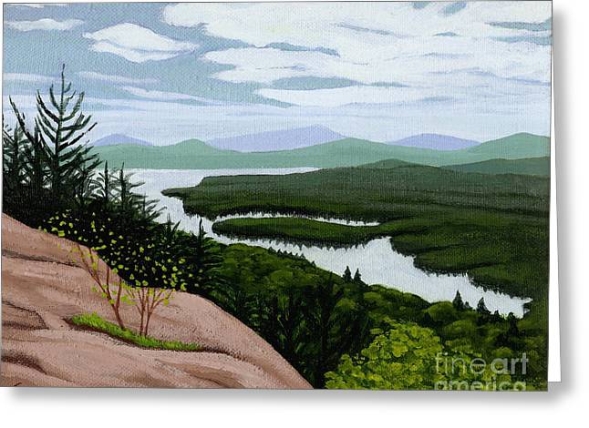 Greeting Card featuring the painting Fourth Lake From Rondaxe by Robert Coppen