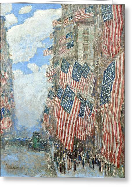 Greeting Card featuring the painting Fourth Of July, 1916 by Frederick Childe Hassam