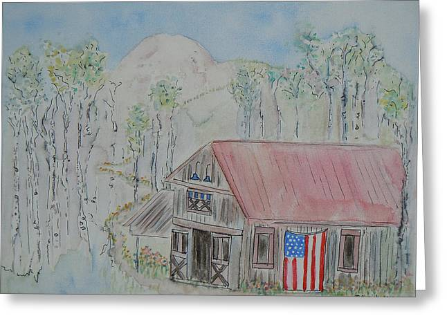 Fourth Of July Barn Greeting Card by Christy Woodland
