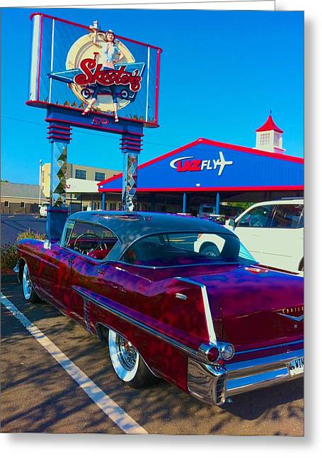 Fourth Of July Classic Car At Skeeters Greeting Card